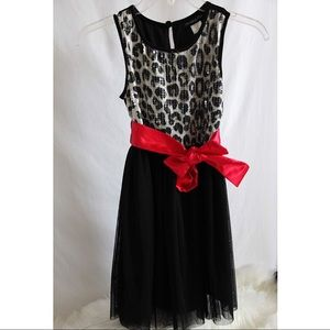 Dress cheetah print dress with red bow
